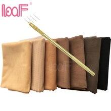 LOOF 1 YARD รูปแบบสวิสผ้าลูกไม้สุทธิ + ระบายอากาศเข็มชุดสำหรับทำวิกผมลูกไม้ Foundation อุปกรณ์เสริมเครื่องมือทอผ้า