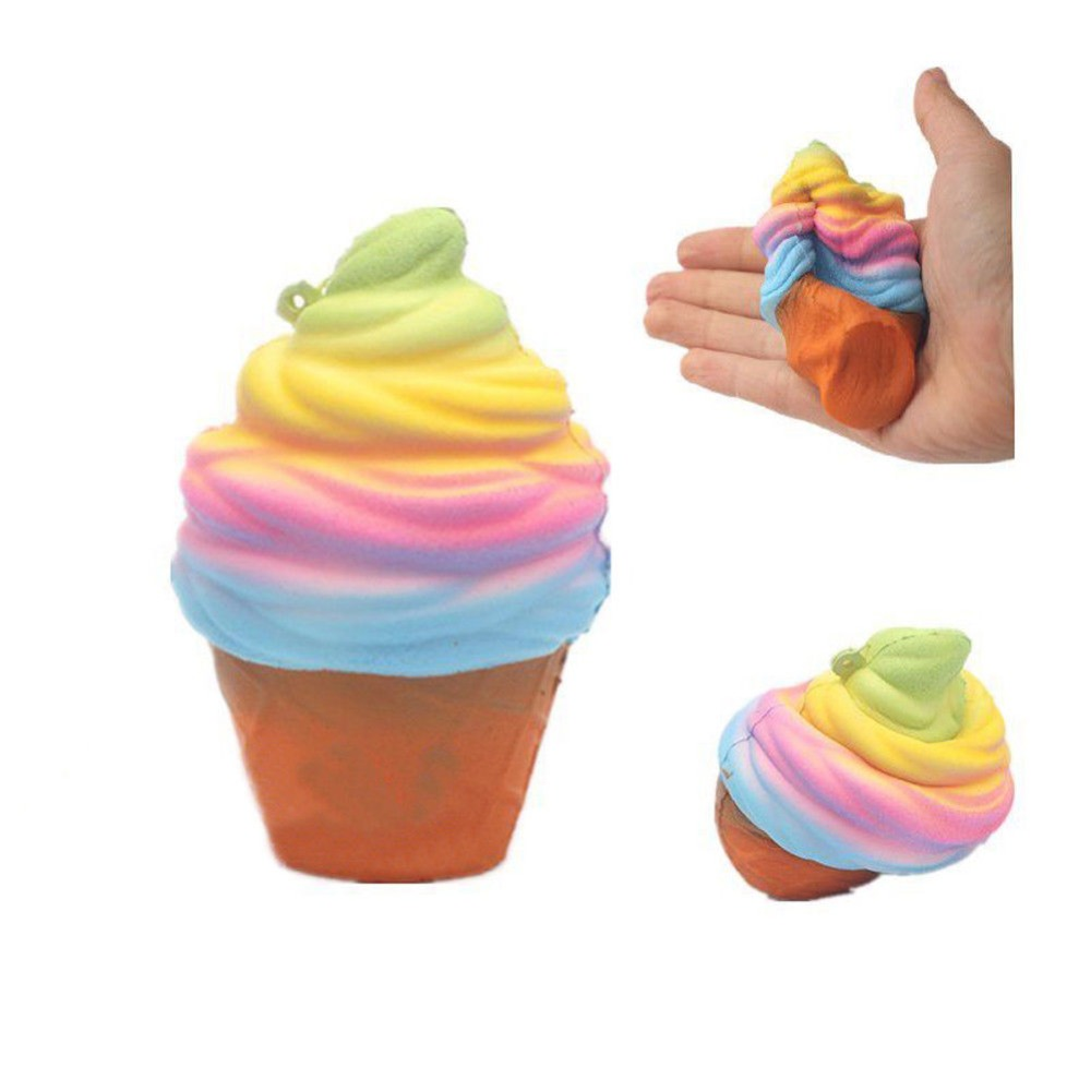Squishy Toy 10CM Rainbow Ice Cream Super Slow Rising Squeeze Toy Sweet Cake Anti-Stress Toy Kid Gift Squishies novelty fun toys pa93 pu foam shrimp model squishy relieve stress toy