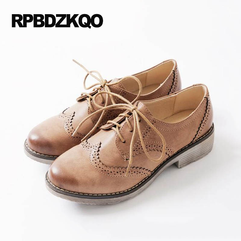 9 Female Japanese School Lace Up Vintage Women Oxfords Shoes Brown 2017 Red Wine Black Flats Round Toe Large Size Brogue