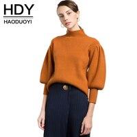 HDY Haoduoyi 2017 Fashion Sweater Women Casual Vintage Solid Orange Pullovers Lantern Sleeve Turtleneck Winter Female