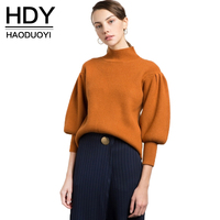 HDY Haoduoyi 2017 Fashion Sweater Women Casual Vintage Solid Orange Pullovers Lantern Sleeve Turtleneck Winter Female