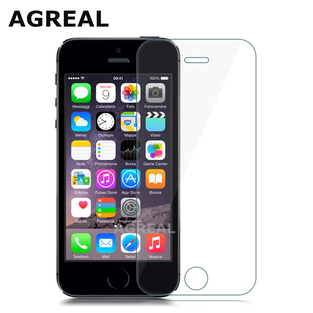 AGREAL 9H 0.3mm 2.5D Tempered Glass Screen Protector for iPhone 5s 5c SE Explosion Proof Toughened Protective Film For iPhone 5