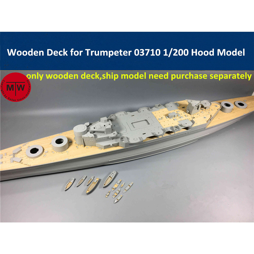 1/200 Scale Wooden Deck for <font><b>Trumpeter</b></font> 03710 Hood Battleship Model Kit image