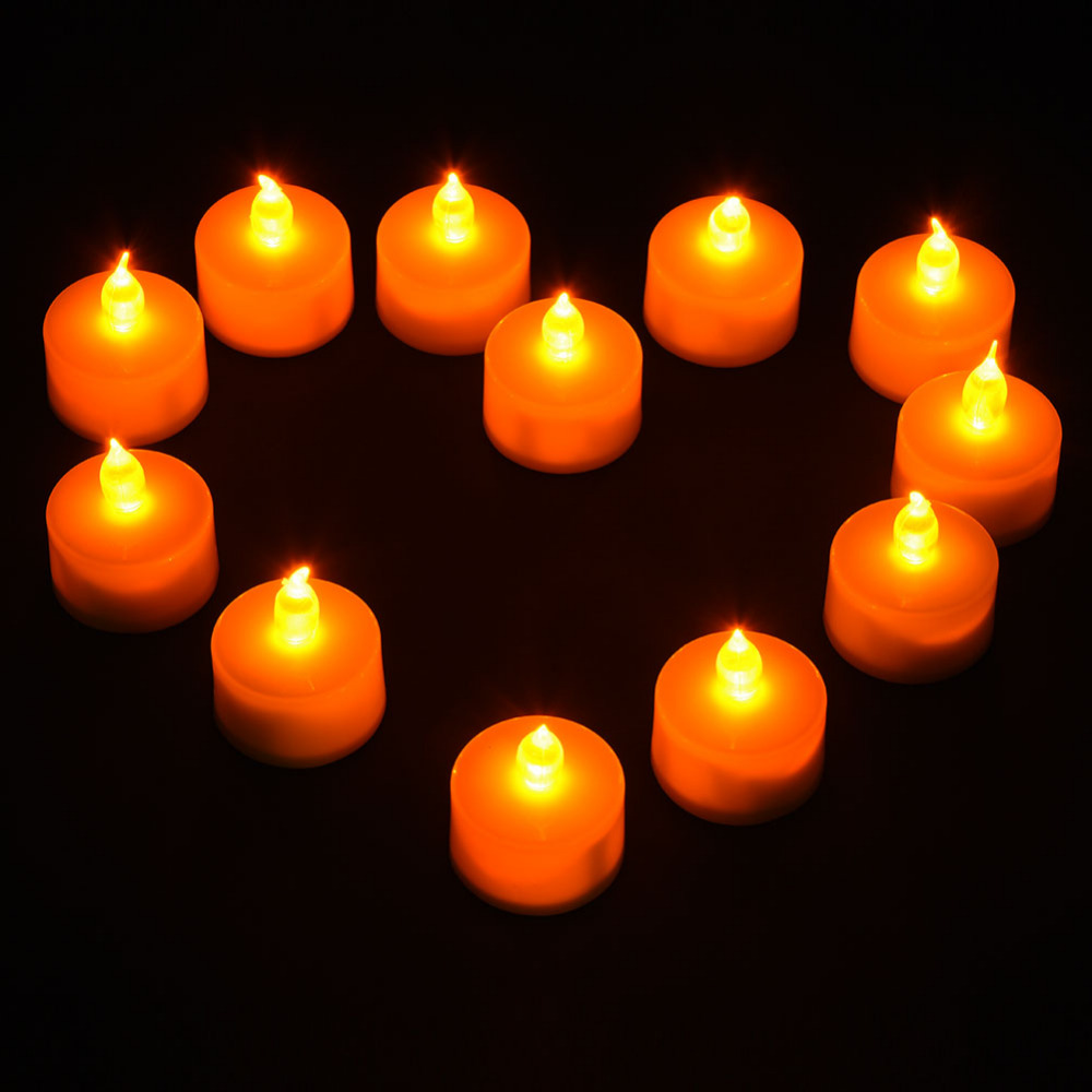 Hot Sale LED Tealight Tea Candles Household Flicker Yellow Light Flameless Candles Party Wedding Home Decoration