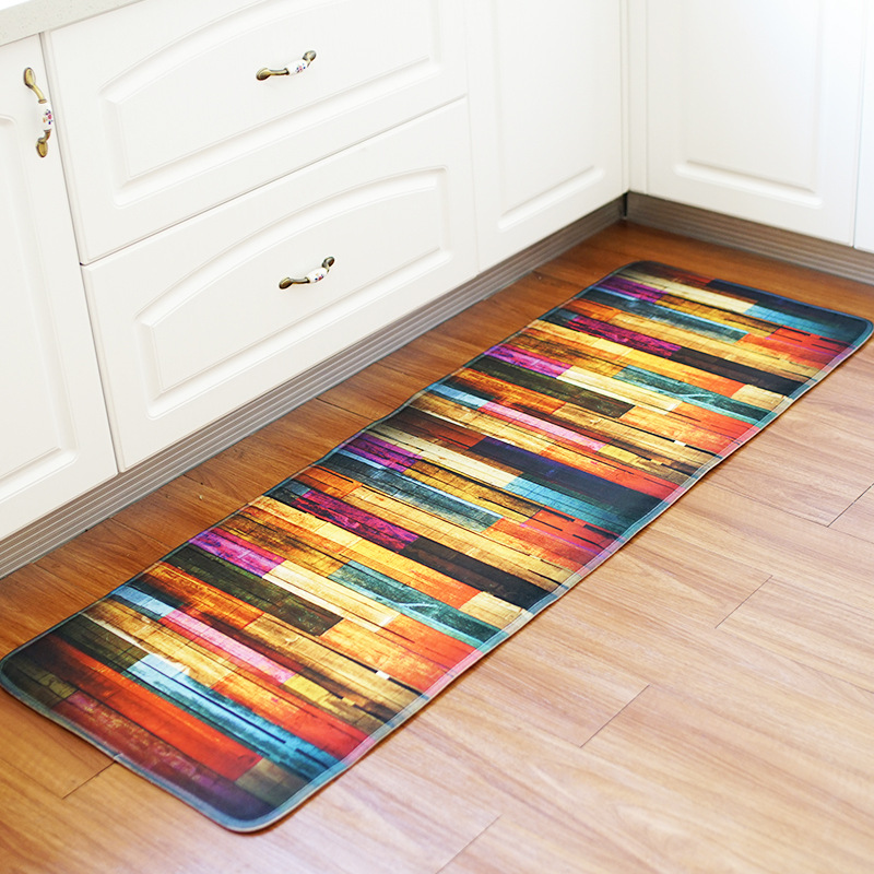 Wood Printed Hallway Rugs Anti Slip Memory Foam Kitchen ...