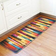 цены Honlaker 55x160CM Retro Wood Pattern Kitchen Mat Soft Flannel Antiskid Kitchen Floor Mat Rug Entrance Long Mats