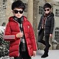 Crianças meninos inverno jaqueta acolchoada 2016 novo bebê meninos moda roupas casaco com capuz grande virgem 5/6/7/8/9/10/11/12/13 anos