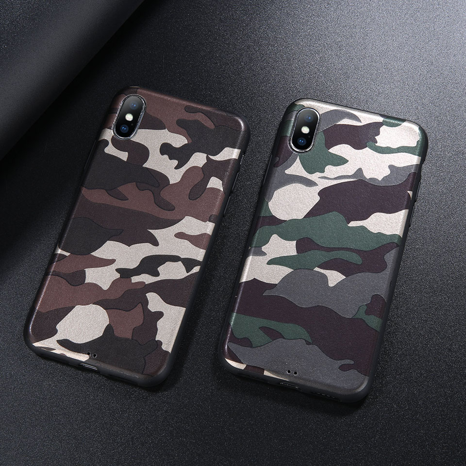 Camouflage Phone Iphone 6 6S 7 8 Plus X Case Army Green Soft TPU Silicon Phone Shell For Iphone 7 Cover