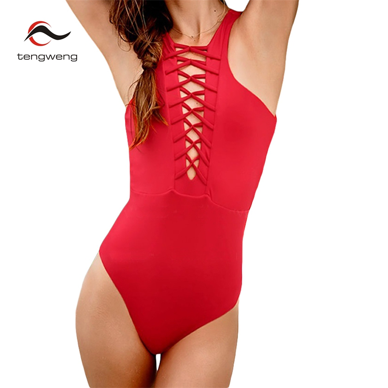 2018 Sexy High Neck Lace Up Strappy Bandage Cut Out Trikini BathingSuit Monokini Thong Swimwear Women Push Up One Piece Swimsuit