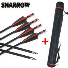 12pcs 30 SP 500 Archery Fiberglass Arrows Glass Fiber With Arrow Quiver Replace Broadheads For Practice Shooting Accessories
