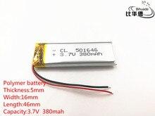 10 개/몫 3.7 v 380 mah 501646 리튬 폴리머 li po 리튬 이온 충전식 배터리 셀 mp3 mp4 mp5 장난감 모바일 블루투스
