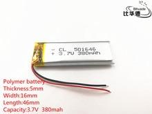 10 sztuk/partia 3.7 V 380 mAh 501646 bateria litowo polimerowa bateria li po akumulator litowo jonowy akumulator baterie do Mp3 MP4 MP5 zabawki telefonu komórkowego