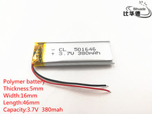 10pcs/lot 3.7V 380mAh 501646 Lithium Polymer Li Po li ion Rechargeable Battery cells For Mp3 MP4 MP5 toy mobile bluetooth
