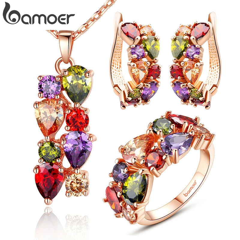 BAMOER Jewelry-Sets Ring Wedding-Necklace Flower Cubic-Zircon Gold-Color Women with AAA