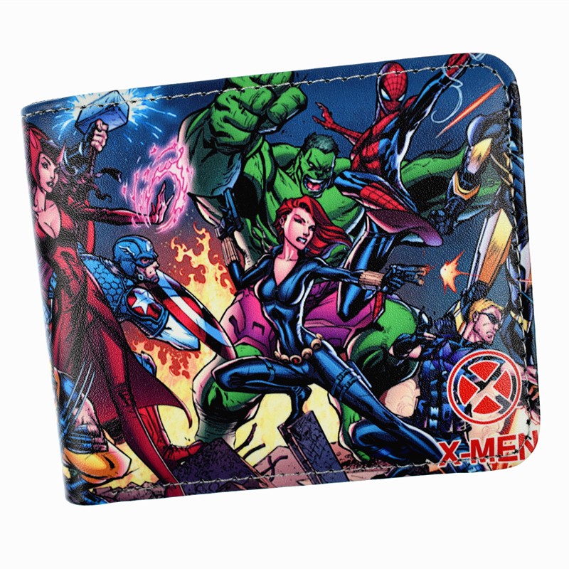 FVIP Anime Marvel Wallet Captain America / Hulk / Loki /Iron Man Short Men's Wallet With Photo Holder Coin Purse dc marvel comics wallets cartoon anime iron man spiderman captain america hulk creative gift purse kids folder short wallet