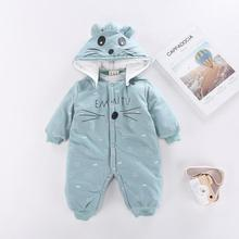 Winter Newborn Rompers Baby Girls Boys Cotton Infant Hooded Warm Overalls Clothes Kids High Quality Cartoon Jumpsuit Outerwear недорого
