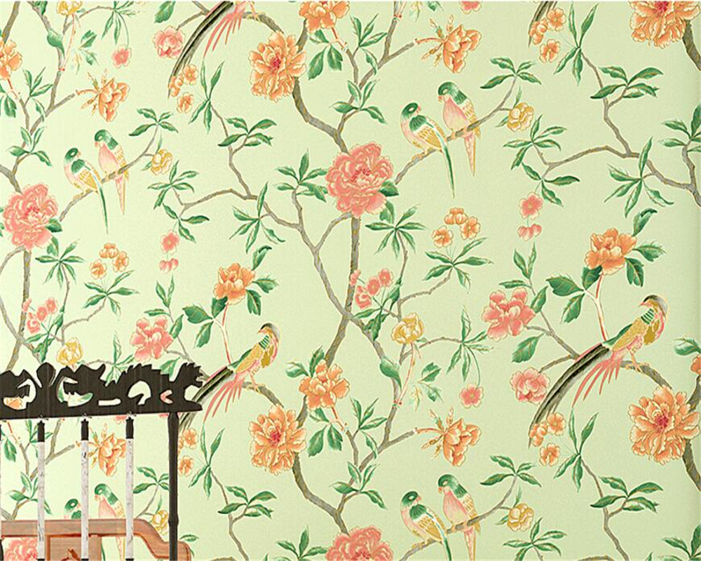 купить Beibehang European style relief flower bird wallpaper living room bedroom shop background wallpaper roll 3d wallpaper for walls по цене 1940.43 рублей