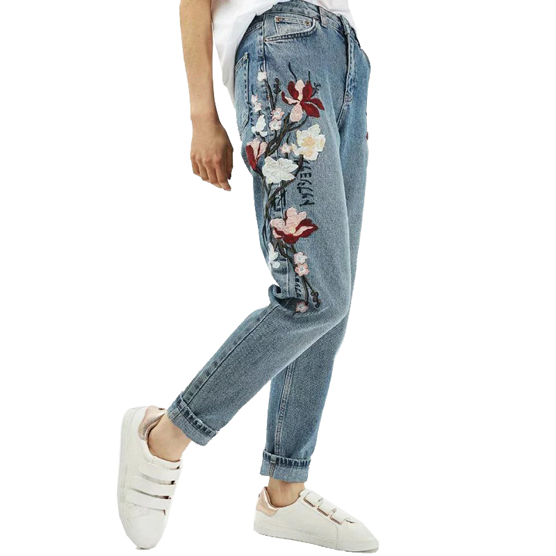 2017 Spring Autumn Fashion Floral Embroidered Jeanss