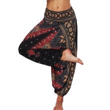 Купить с кэшбэком New Women Loose Thai Harem Pants Indie Folk Boho Festival Hippy Casual Trousers Loose Elastic Waist Soft National Style Pants