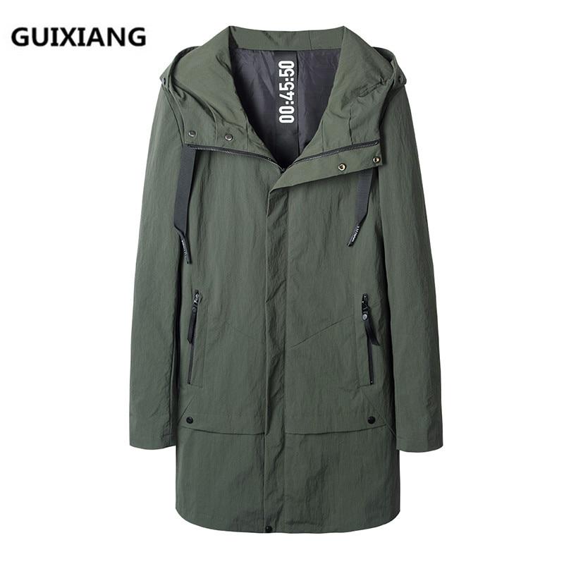 GUIXIANG 2017 Autumn jacket Men's casual fashion hooded jackets   trench   coat Men's casual coats jackets men full size M-4XL
