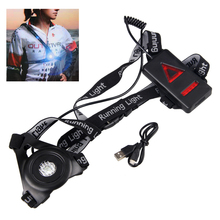 Outdoor Sport LED Night Running Light  USB Rechargeable Chest Lamp Safety Jogging Warning Light Cycling Torch new arrivals warning waist belt tape lamp led light outdoor night cycling running working workplace safety supplies accessories