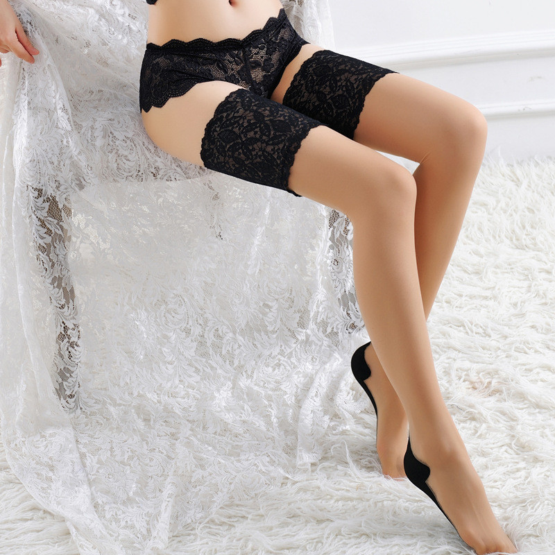 Hot Women Sexy Lingerie Wide Lace Top Sexy Silicone Stockings Cuban Heel Back Seam Thigh High Stockings Nude Female Stockings