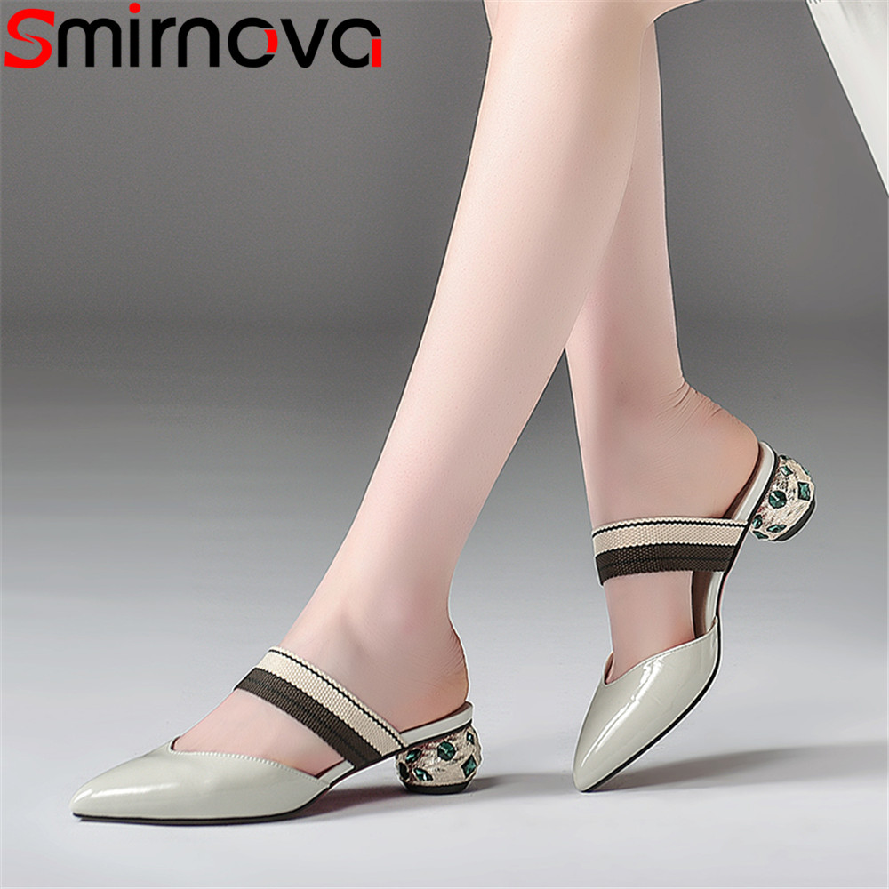 Smirnova 2018 summer new shoes woman big size pointed toe shallow casual mules shoes comfortable sandals