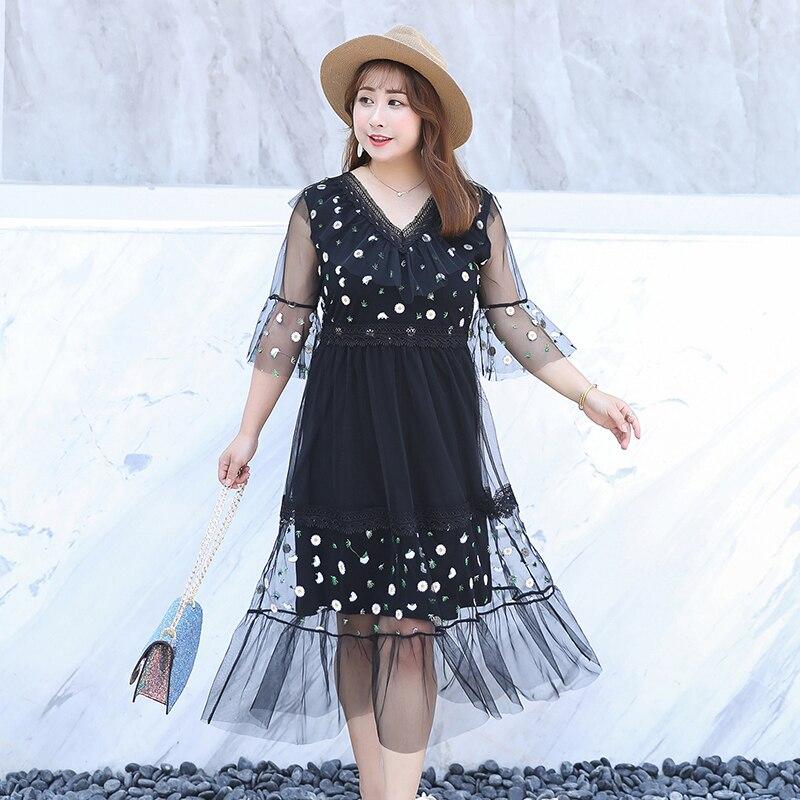 MINSUNDA Plus Size Black Ruffle Embroidery Mesh Patchwork Dress Women Floral V Neck Flare Sleeve Dress Summer A Line Party Dress