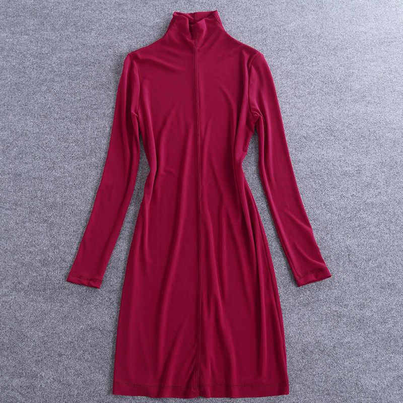2018 Primavera Mujer Camisa Larga Color Solido Rojo Manga Larga Cuello Vuelto Paquete Cadera Tallas Grandes Senora Moda Ropa Cotton Night Dress Women Home Dresshome Dress Aliexpress