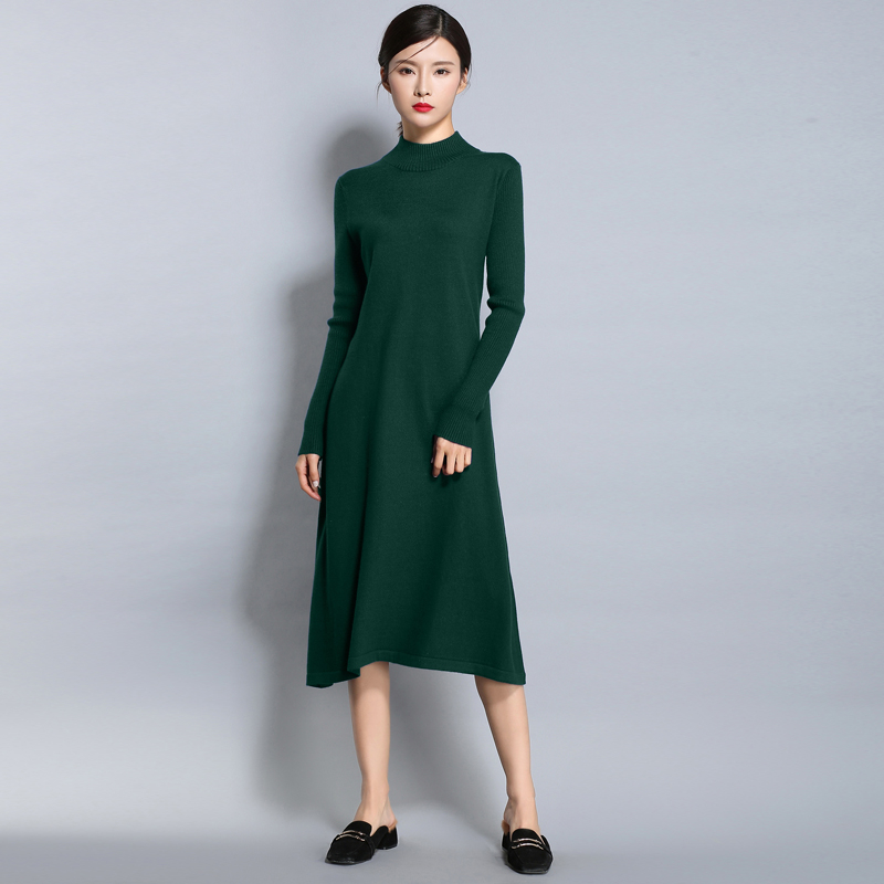 2017 New Autumn Winter Turtleneck Sweater Dress Women Casual Loose A-Line High Waist Dress Warm Wool Knitted Long Sleeve Dresses italian light high quality 2017 autumn winter new brand women s wear national knitted wool sweater dress plus size s xxl 4 color