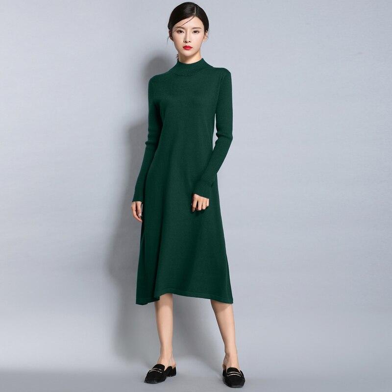 2017 New Autumn Winter Turtleneck Sweater Dress Women Casual Loose A-Line High Waist Dress Warm Wool Knitted Long Sleeve Dresses