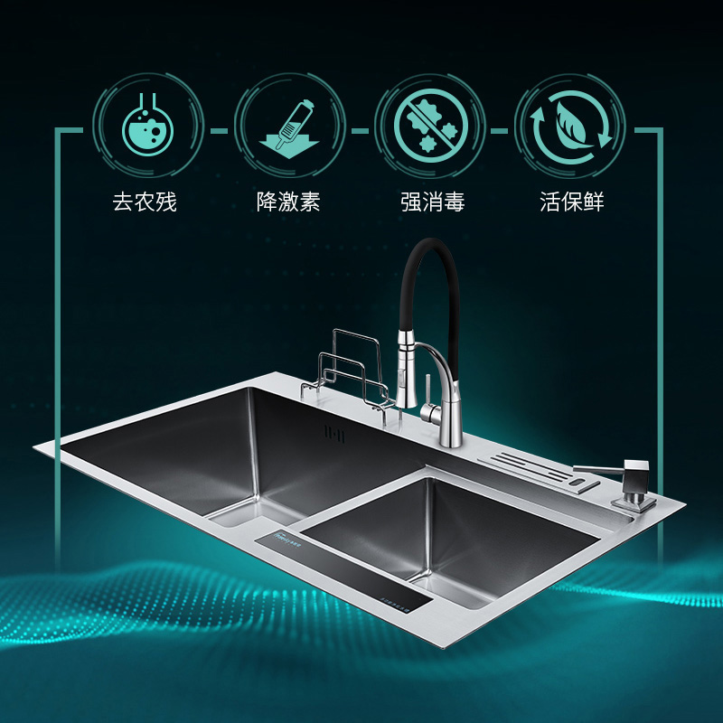 Net time and space 304 stainless steel double slot sinks Home automatic washing machine fruit and vegetable detoxification machi