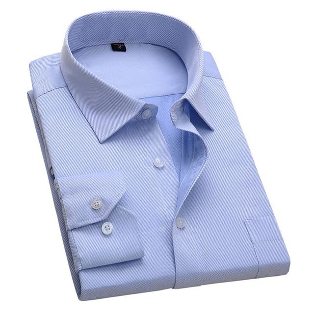 Новинка 2017 года Дизайн саржевого хлопка Однотонная Одежда Белый Бизнес торжественное платье Рубашки для мальчиков Для мужчин модные с длинным рукавом Социальный рубашка Большой Размеры 5XL 6XL