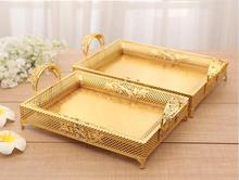 European fashionable rectangular hollow metal tray diamonds decorative gold storage tray metal severing tray FT042