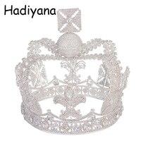 Hadiyana Винтаж серебро Цвет Тиара Свадебные Большой корона для невесты аксессуары для волос 2018 Новый queen корона с кубический Zincons HG6042
