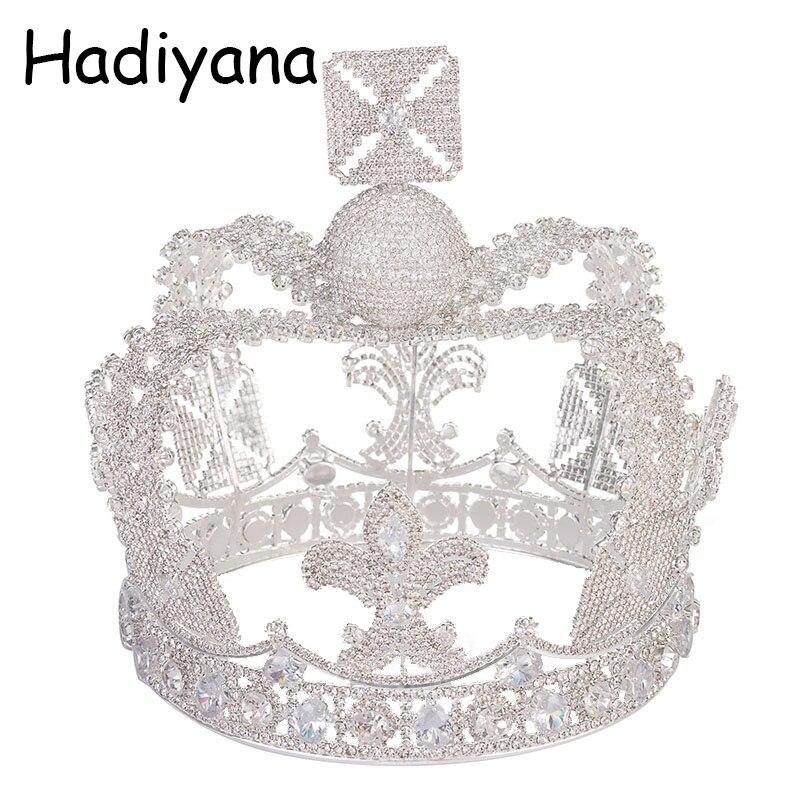 Hadiyana Vintage Silver Color Tiara Wedding Big Crown For Bride Hair Accessories 2018 New Queen Crown With Cubic Zincons HG6042 цена 2017