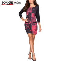 KAIGE NINA Autumn Sexy Slim Print Dress Women Casual Mini Dress Long Sleeve Sheath Plus Size