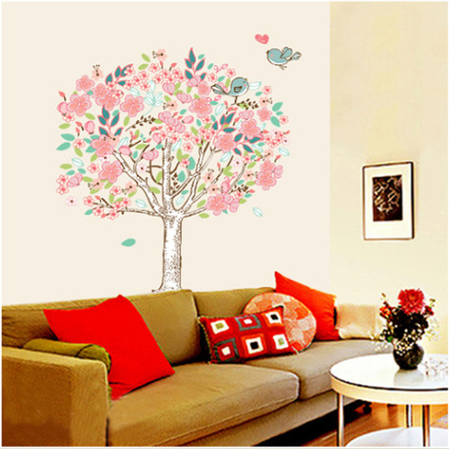 Vinilo flores floral mural wall sticker dormitorio for Mural para pared dormitorio