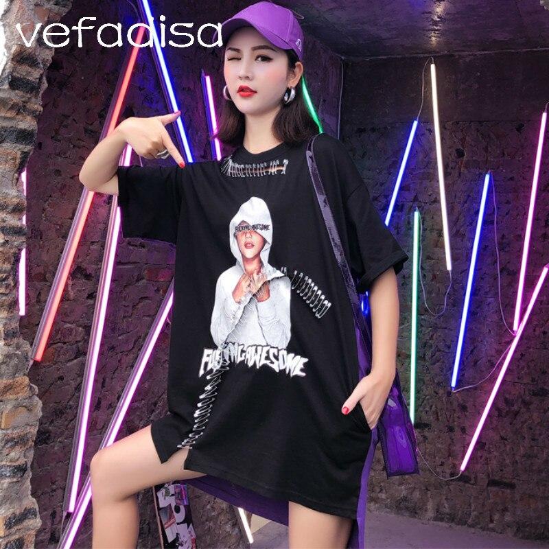 Vefadisa personnage motif chemise Patchwork irrégulière hauts 2018 manches courtes femmes été t-shirt noir asymétrique chemise AD1795