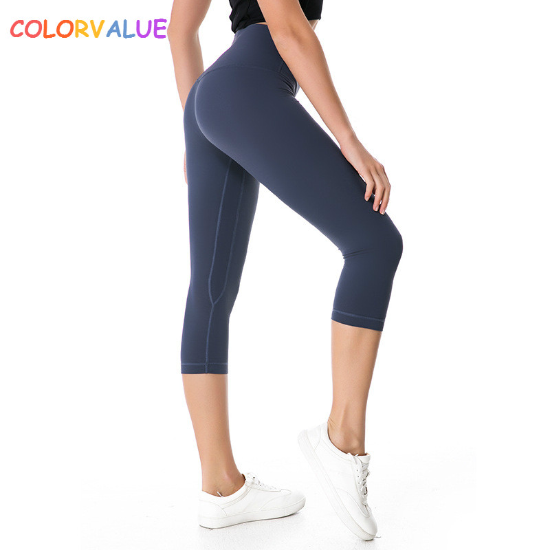 Colorvalue Top Quality Sport Cropped Tights Women Stretchy Nylon Yoga Capri Pants Quick Dry Mention Hip Athletic Gym Leggings colorvalue solid sport fitness leggings women high stretchy yoga pants nylon mesh gym athletic leggings with triangle crotch
