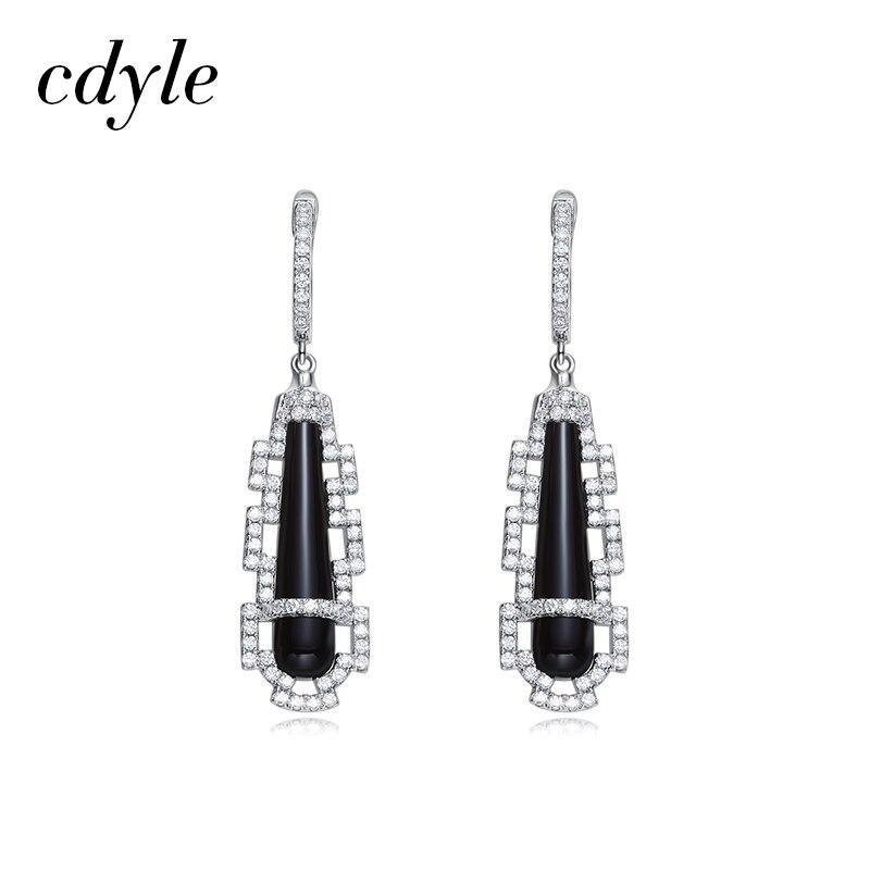 Cdyle Crystals from Swarovski Ceramic Tassel Earrings Women Dangles Earrings S925 Sterling Silver Jewelry Australian Rhinestone pair of stylish rhinestone embossed leaf tassel earrings for women