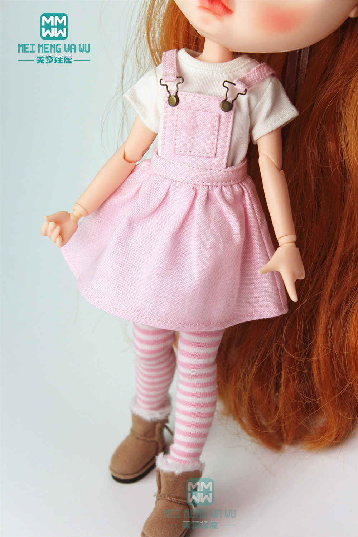 1PCS Blyth Doll Clothes Fashion Plaid Strap Dress, T-shirt For Blyth , Azone, Obitsu, FR 1/6 Doll