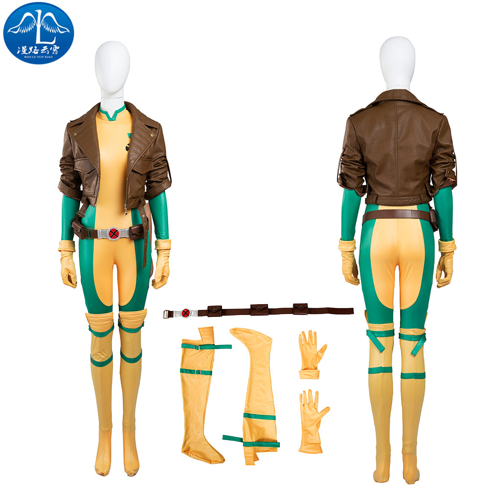 ManLuYunXiao X-Men Rogue Mary Cosplay Kostuum Rollenspel Vrouwen Volwassen Cosplay Jumpsuit Jas Gratis Verzending Custom Made