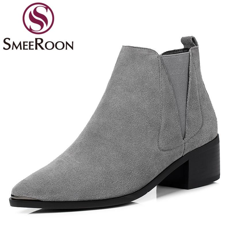 26f72895a7ae53 Fur Mode Automne Black Vente Bout Slip Sur Les Bottes Hiver Pointu With  Cheville Fur Not De grey Cuir Smeeroon Fur Femmes Chaussures Daim Pour  Chaude ...