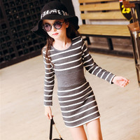 4 15Y Casual Girl Dress Spring Summer O Neck Striped Children Party Birthday Dresses For Girls