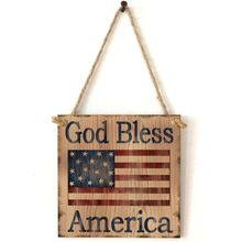 Wooden Hanging Plaque God Bless America Sign Board Wall Door Home Decoration Independence Day Party Gifts цена 2017