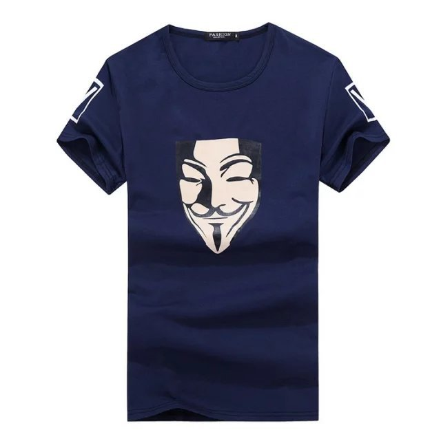 Summer Unisex V Smile Face Printing T Shirt Vendetta Cosplay Costume Short Sleeves Top Tees Black Blue White S-2XL