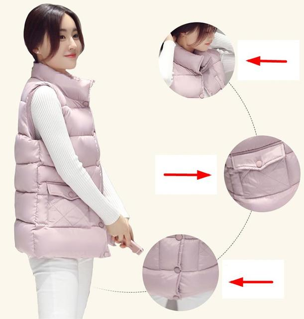 Women Waistcoat Winter Jacket Thicken Collar Cotton Down Warm Push button Vest Female Plus Size Large pocketsOutwear