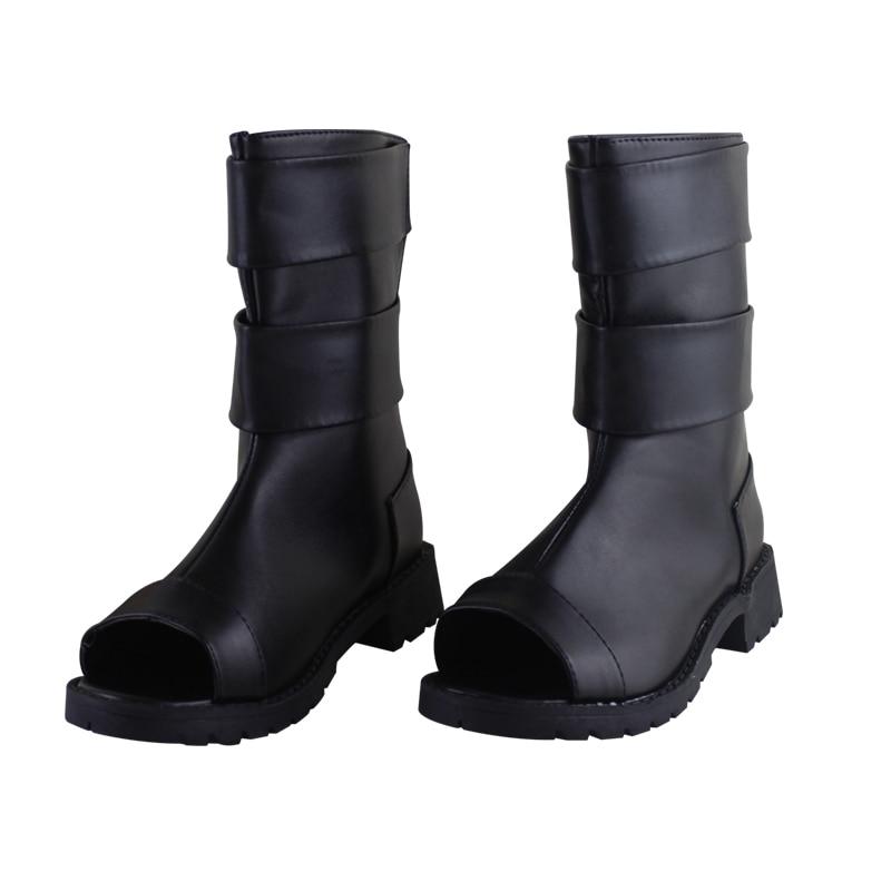 Anime Naruto Uzumaki Naruto Cosplay Shoes Black Peep Toe Boots Pu Leather Shoes Halloween Naruto Cosplay