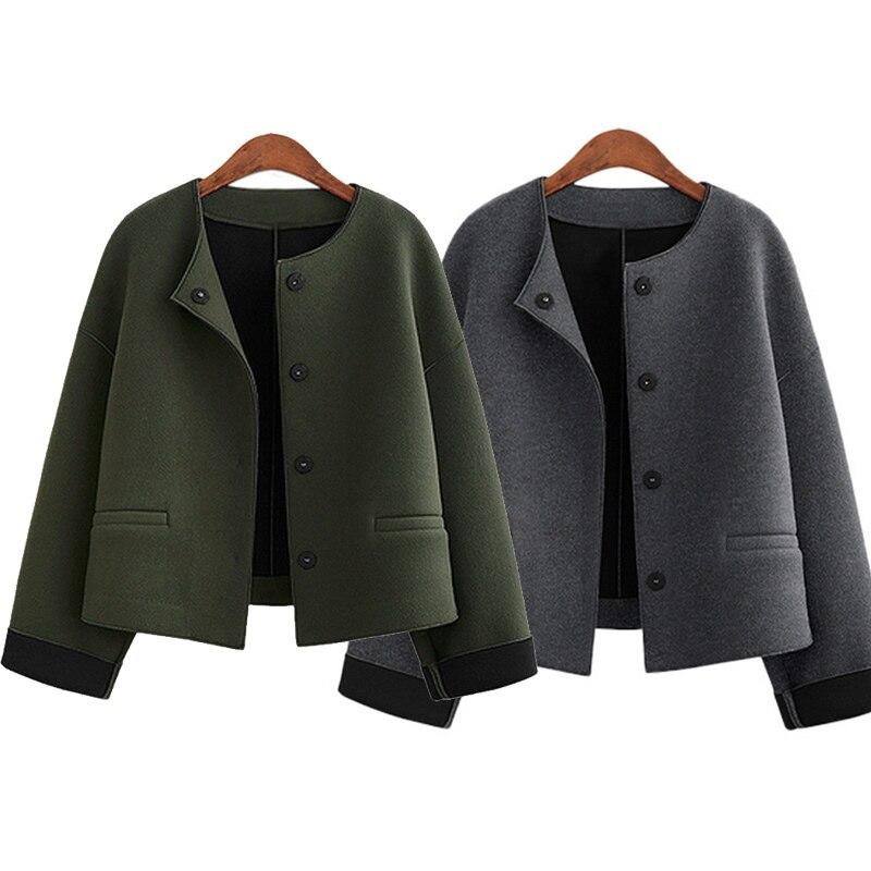 Autumn Winter Women Tweed Jacket Woolen Coats Full Sleeve O Neck Fashion Short Coat Woman Cardigan